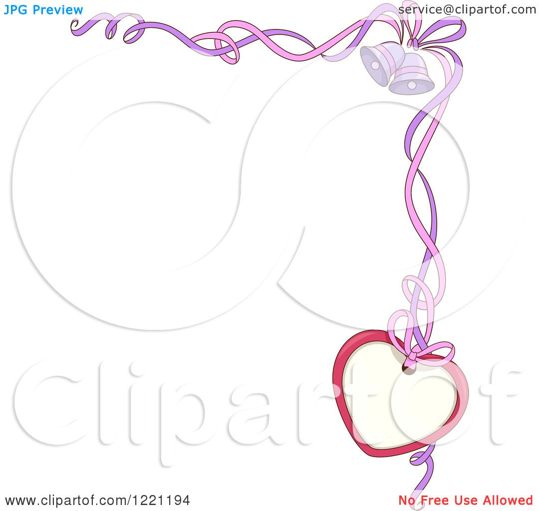 Clipart Of A Corner Wedding Border Of Ribbons Bells And A Heart Tag Royalty Free Vector