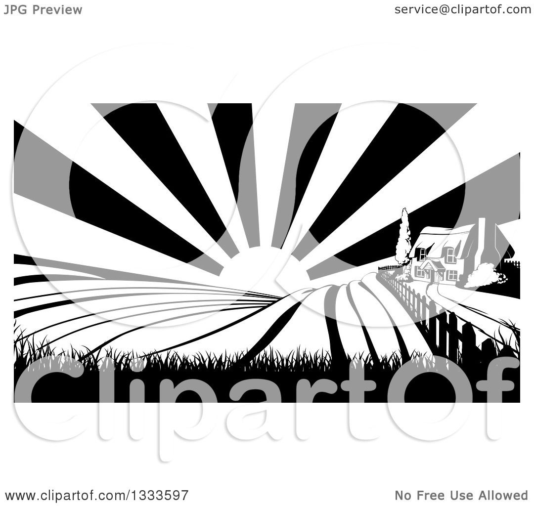 Clipart Of A Cottage Farm House On Hill With The Sunrise And Fields In Black White