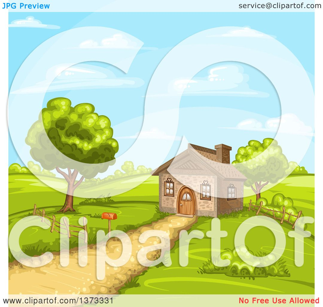 Clipart Of A Cottage House In Hilly Rural Landscape