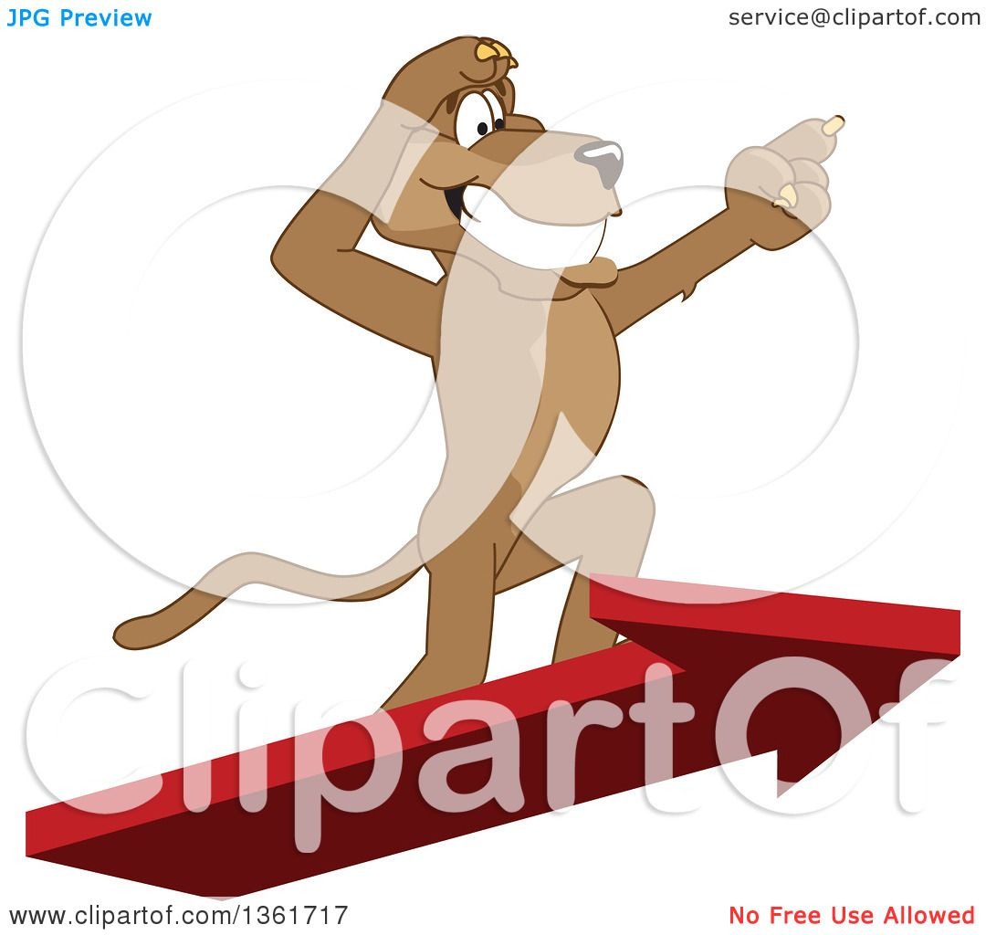 clipart of a cougar school mascot character standing on an arrow and rh clipartof com High School Cougar Mascot Cougar School Mascot