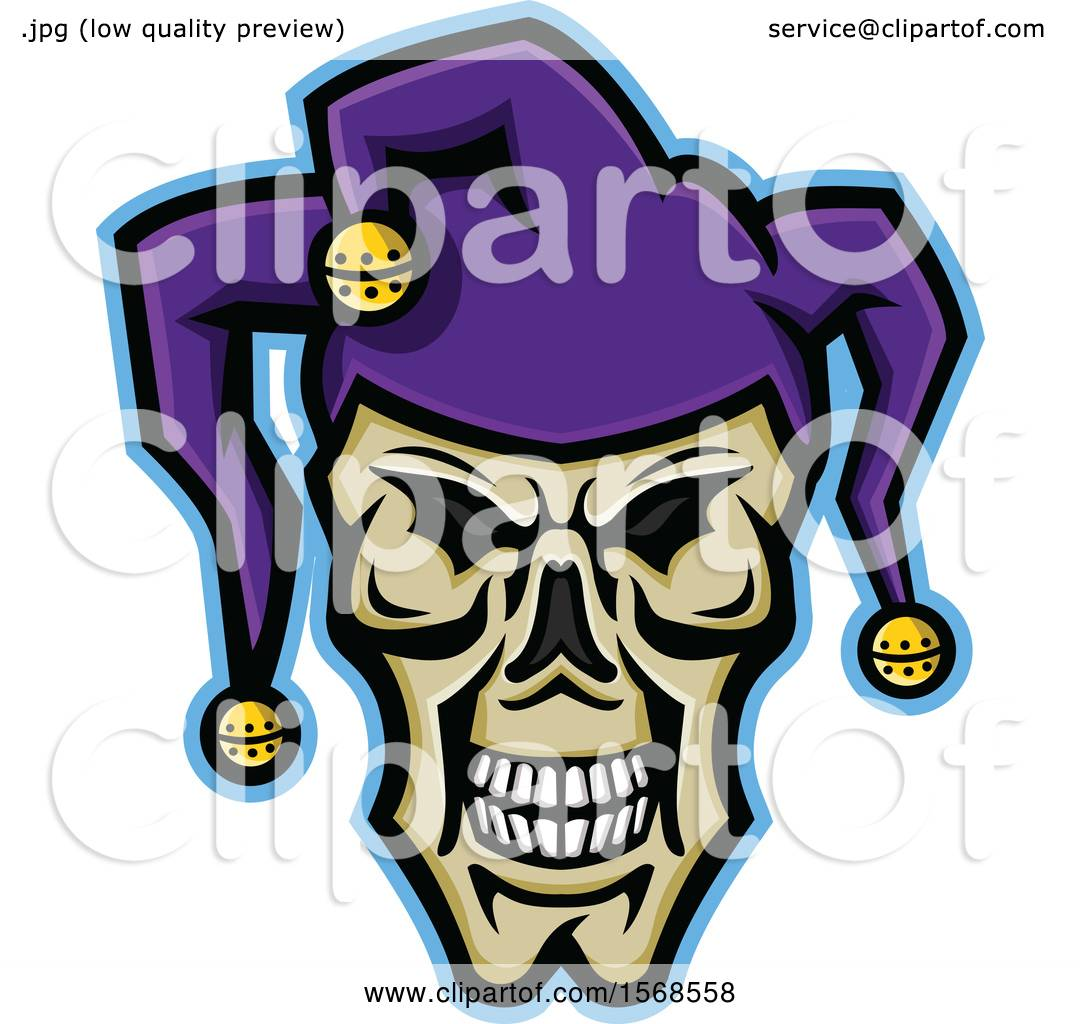 49780aa6fef Clipart of a Creepy Jester Face Skull Wearing a Hat - Royalty Free Vector  Illustration by