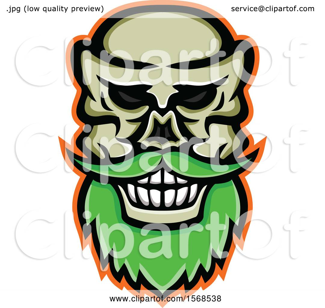 19db4c6115 patrimonio. Clipart of a Creepy Skull with a Mustache and Beard - Royalty  Free Vector Illustration by