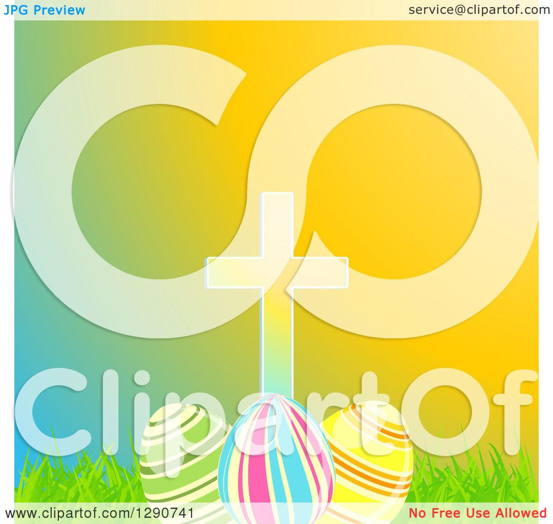 Clipart Of A Cross Over 3d Easter Eggs Grass And Colorful Gradient