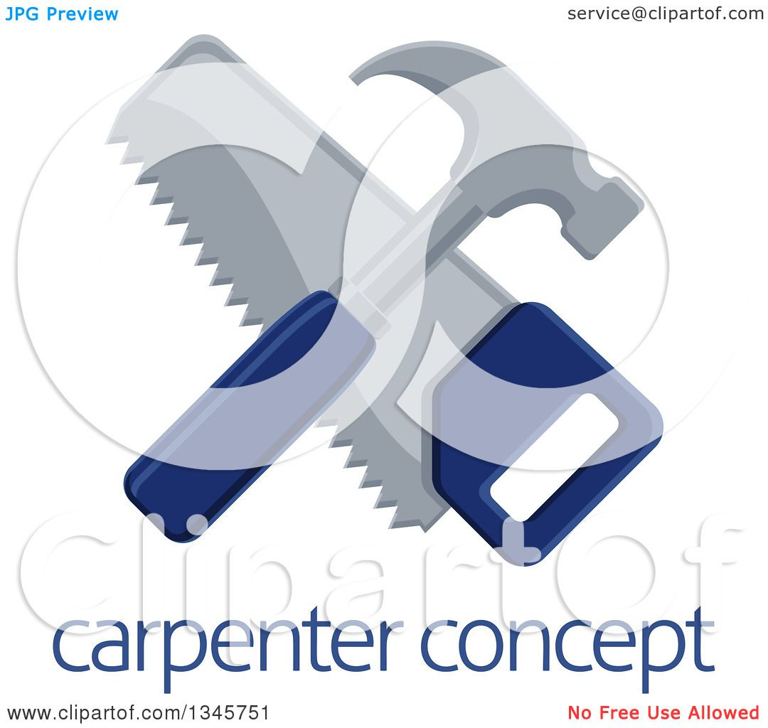 Clipart of a Crossed Blue Handled Hammer and Hand Saw over ...