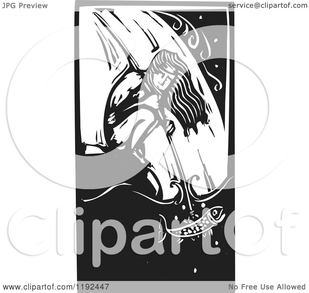 Clipart Of A Crouching Native Man Spear Fishing At A
