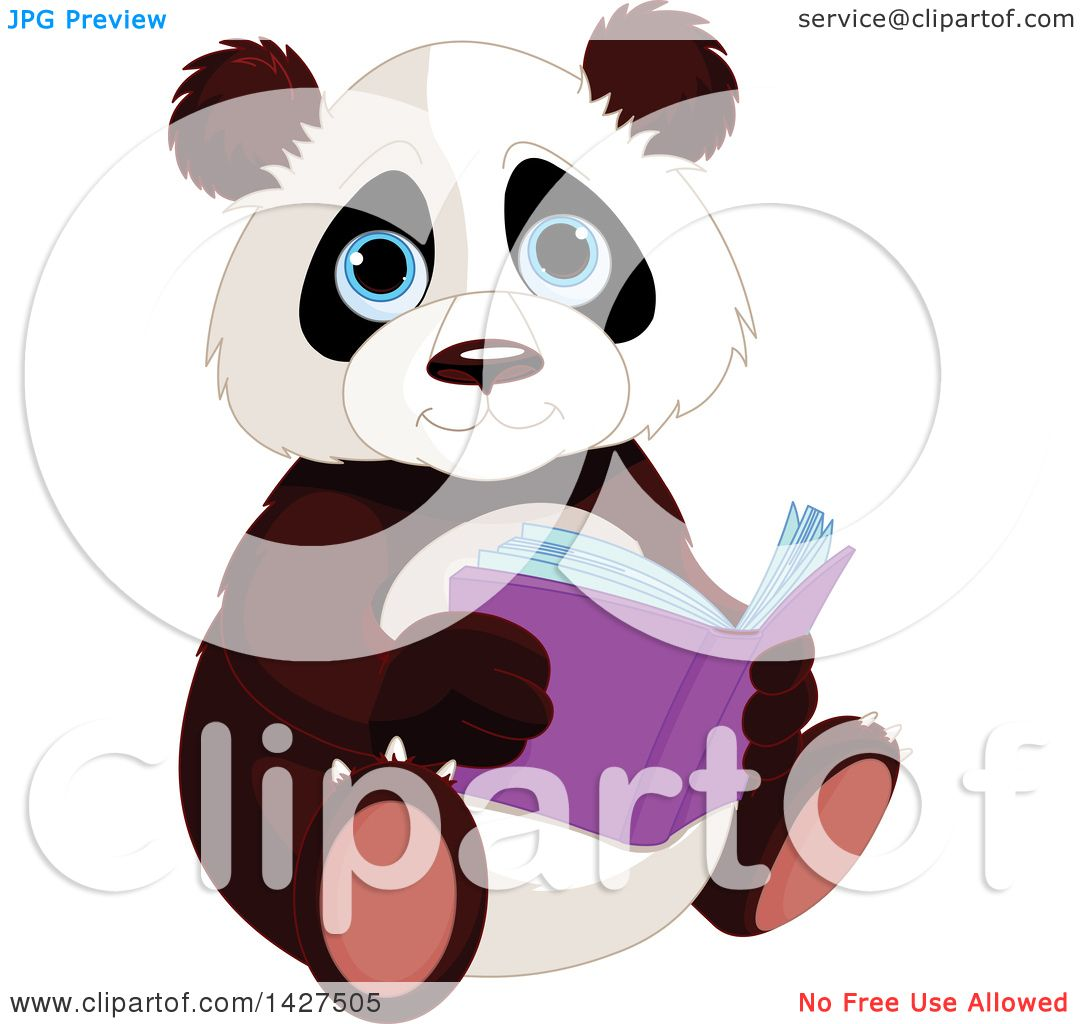 Clipart of a Cute Adorable Baby Panda Sitting and Reading ...