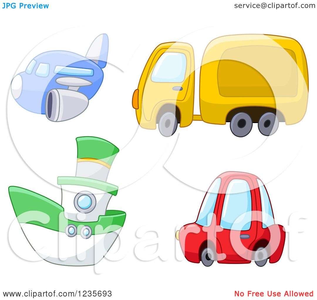 clipart of a cute airplane big rig boat and car royalty free