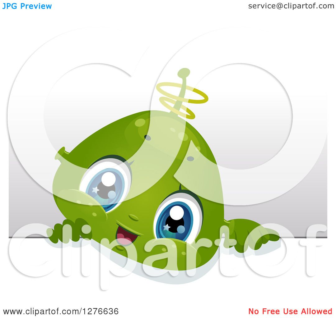 Clipart Of A Cute Alien Baby Boy Looking Over A Board