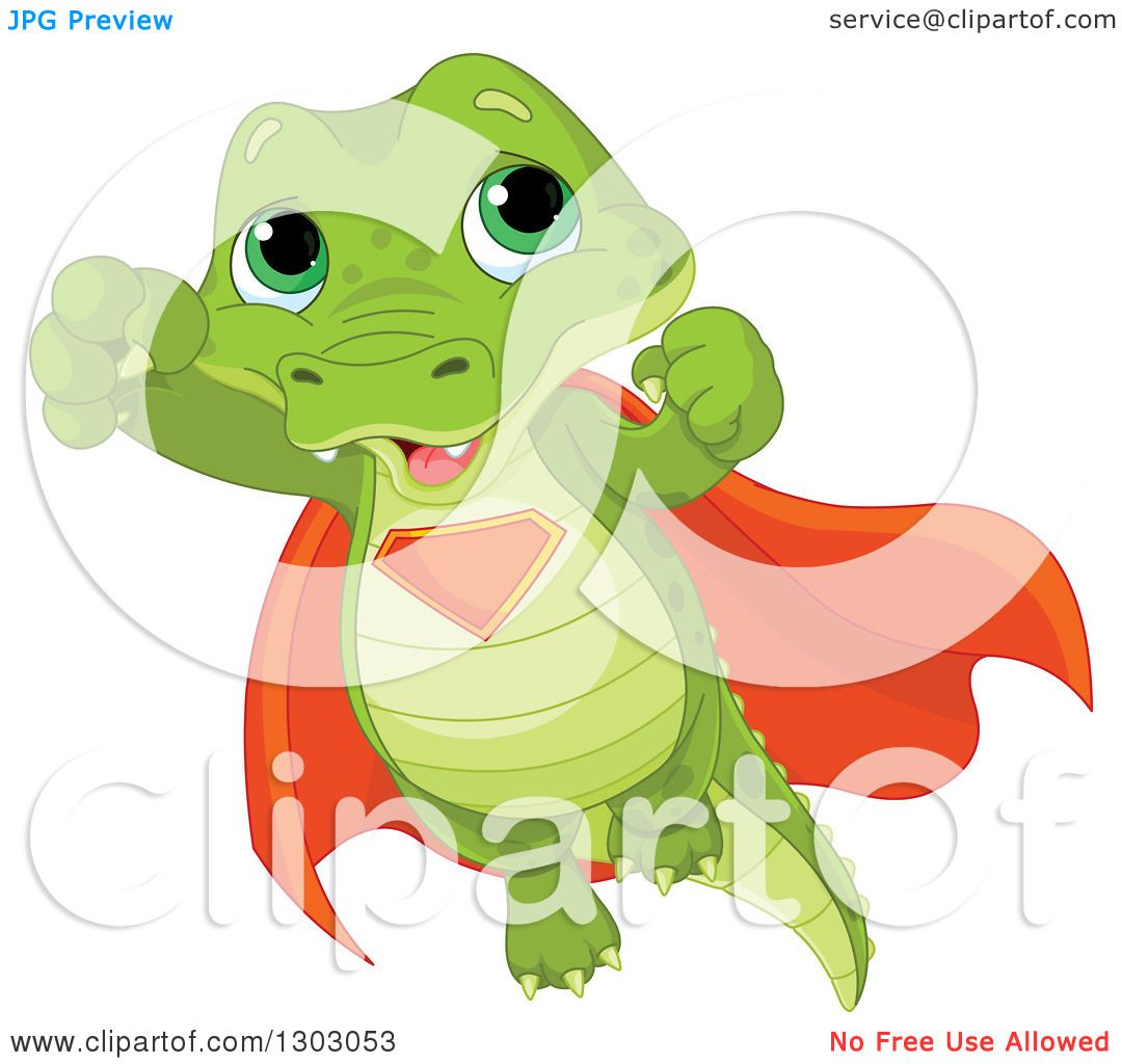 Clipart Of A Cute Baby Alligator Super Hero Flying