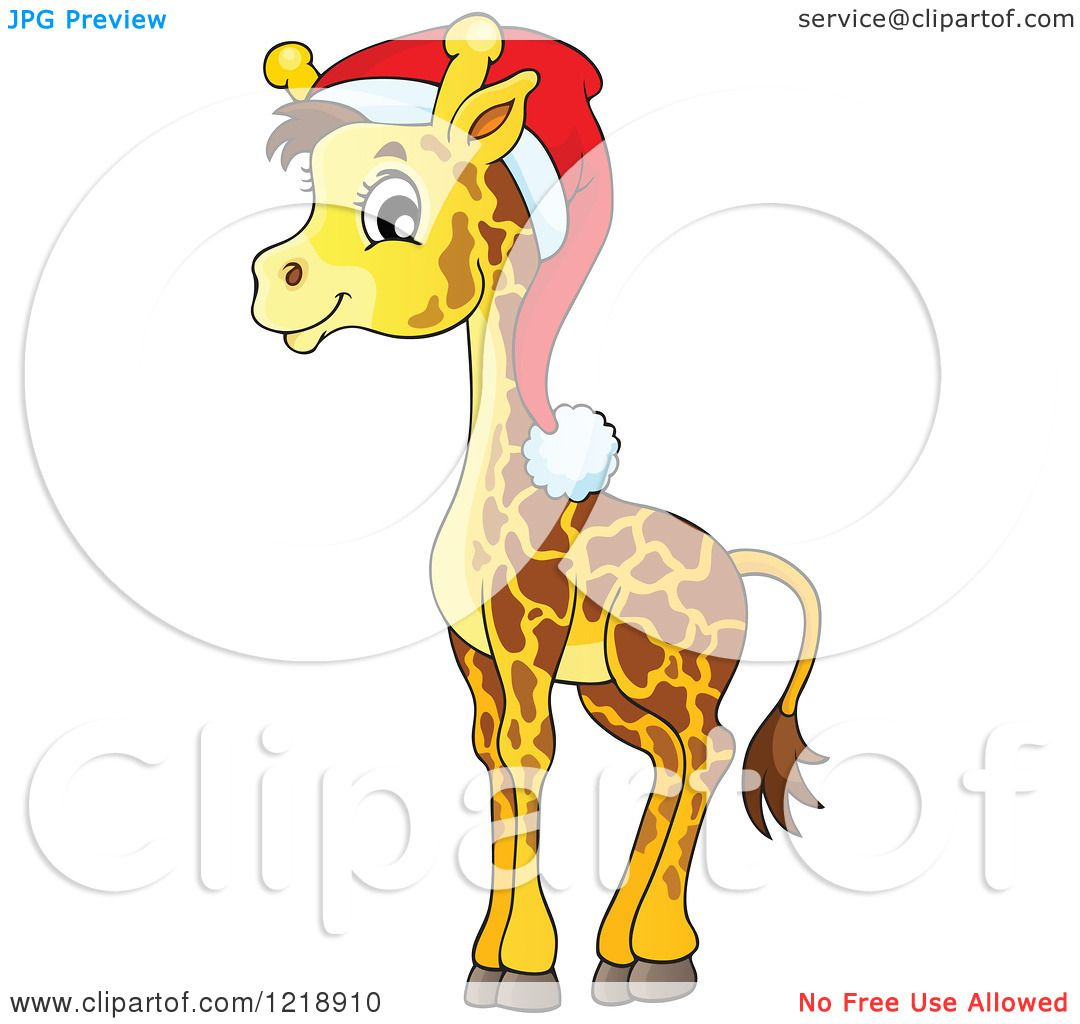 Clipart of a Cute Baby Christmas Giraffe Wearing a Santa Hat ...