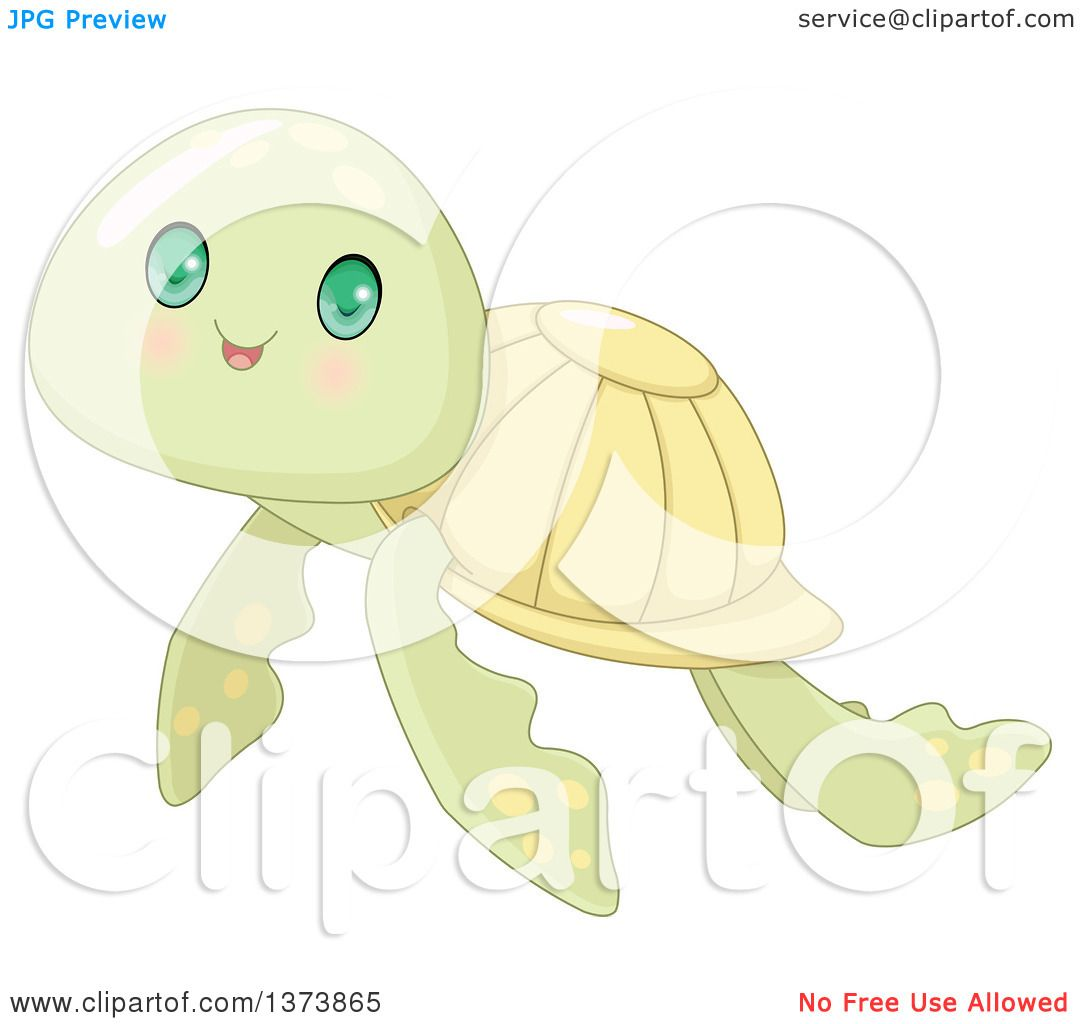 Clipart Of A Cute Baby Sea Turtle With Big Green Eyes Royalty