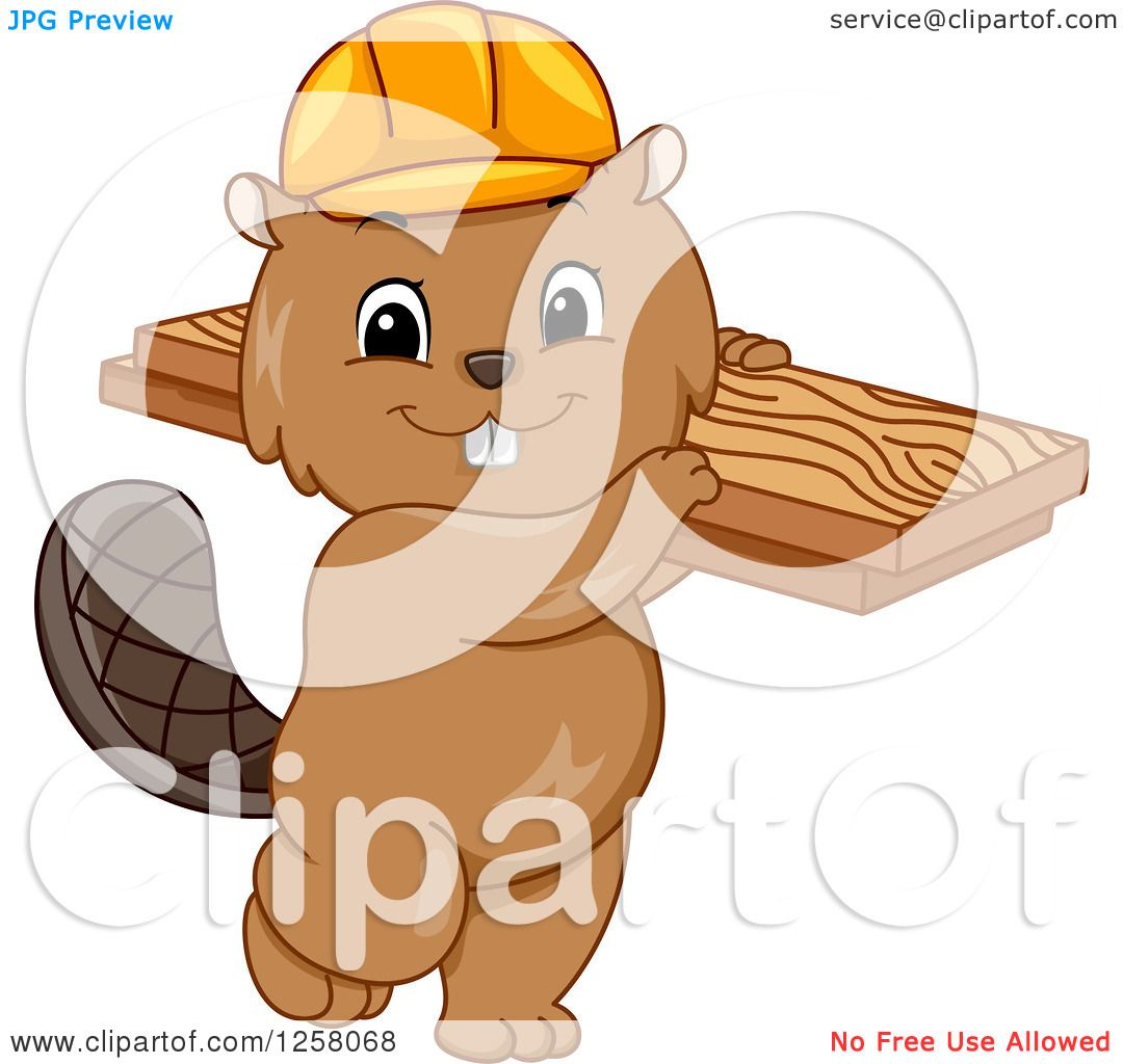Clipart Of A Cute Beaver In Hard Hat Carrying Lumber Royalty Free