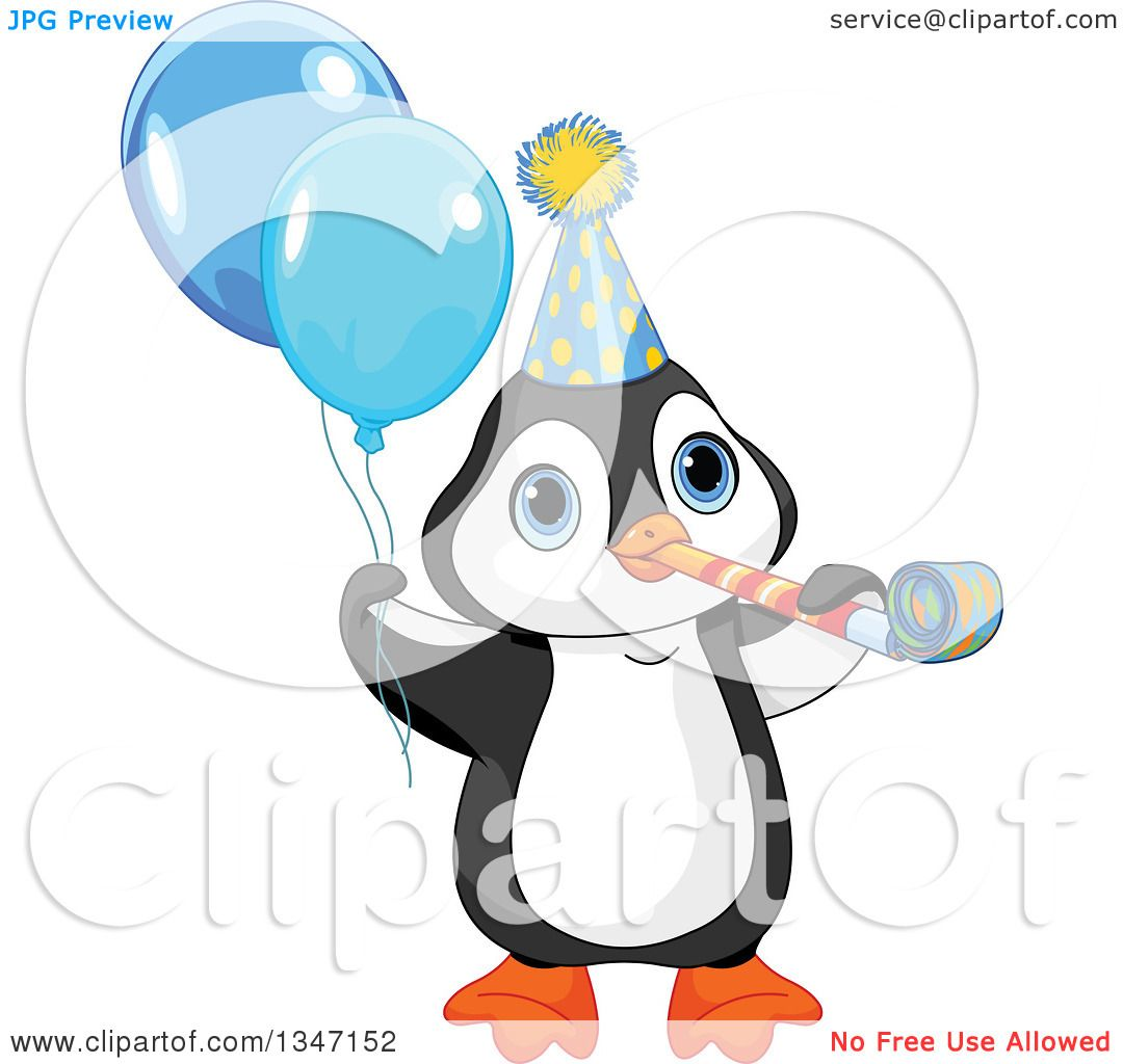 Clipart Of A Cute Birthday Party Penguin Blowing A Noise