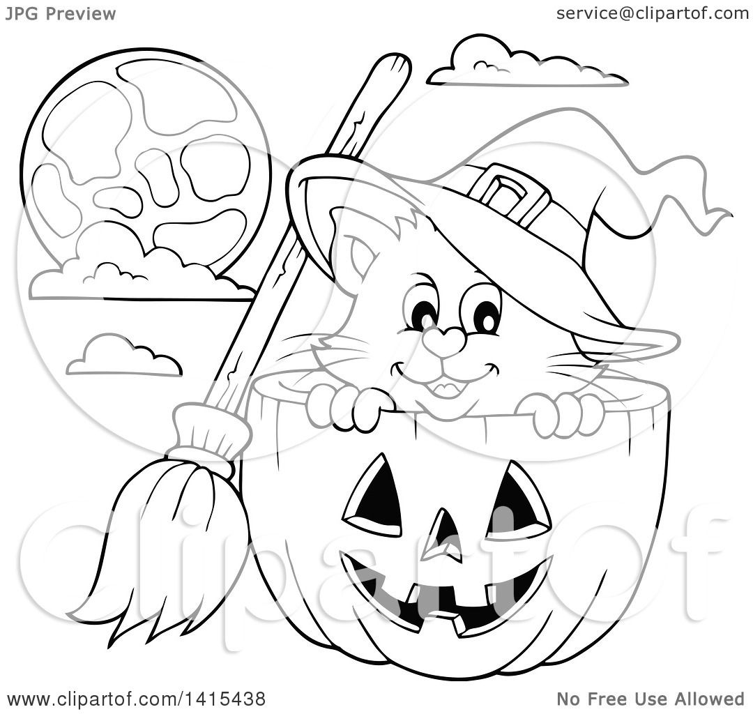 clipart of a cute black and white lineart halloween witch