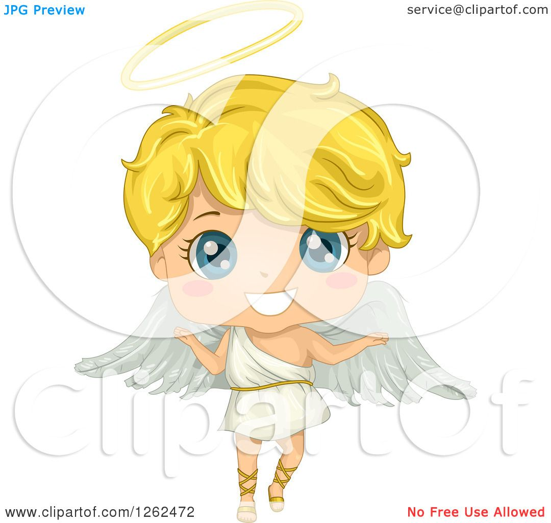 Clipart Of A Cute Blond Angel Boy Royalty Free Vector