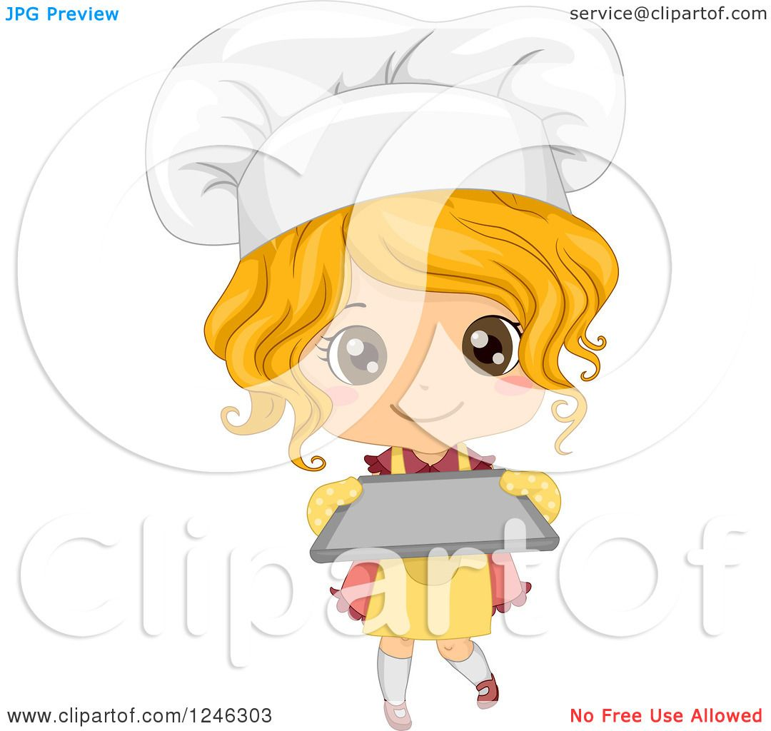 Clipart Of A Cute Blond Toddler Chef Girl Holding A Baking