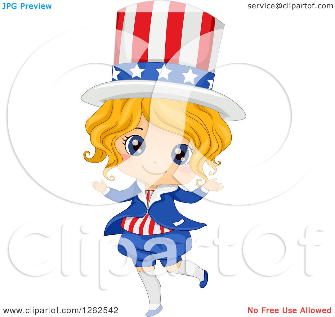Clipart Of A Cute Blond White Girl In An American Uncle