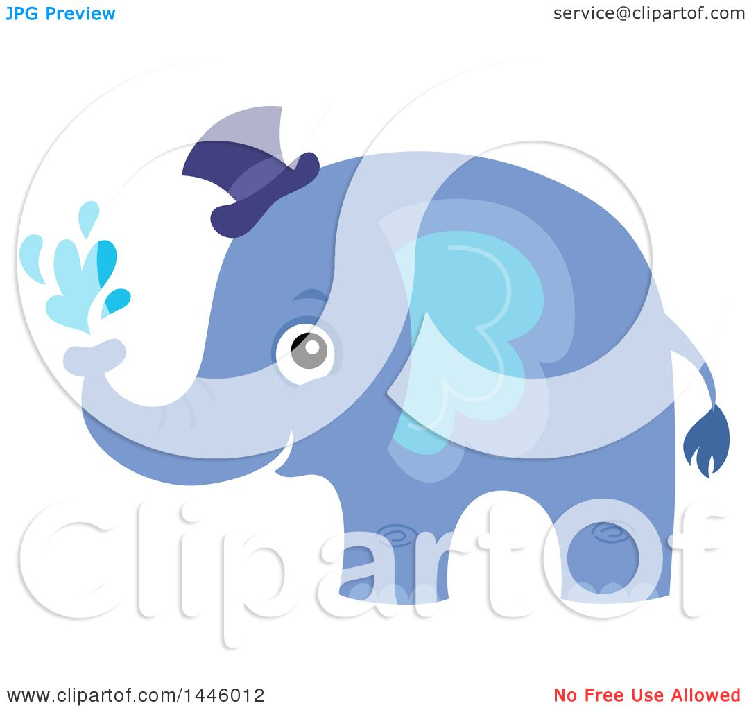 Clipart of a Cute Blue Boy Elephant Squirting Water - Royalty Free Vector  Illustration by visekart