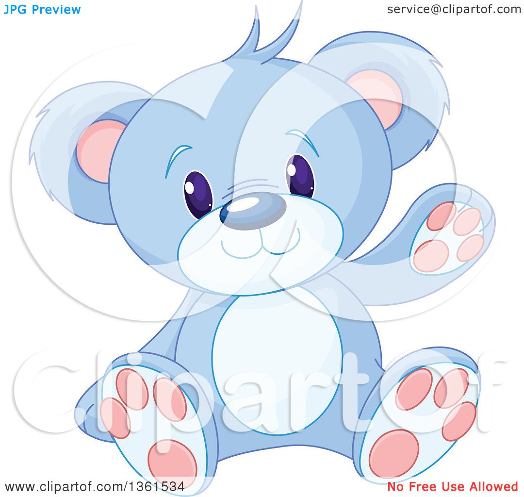 Clipart of a Cute Blue Teddy Bear Sitting and Waving ...