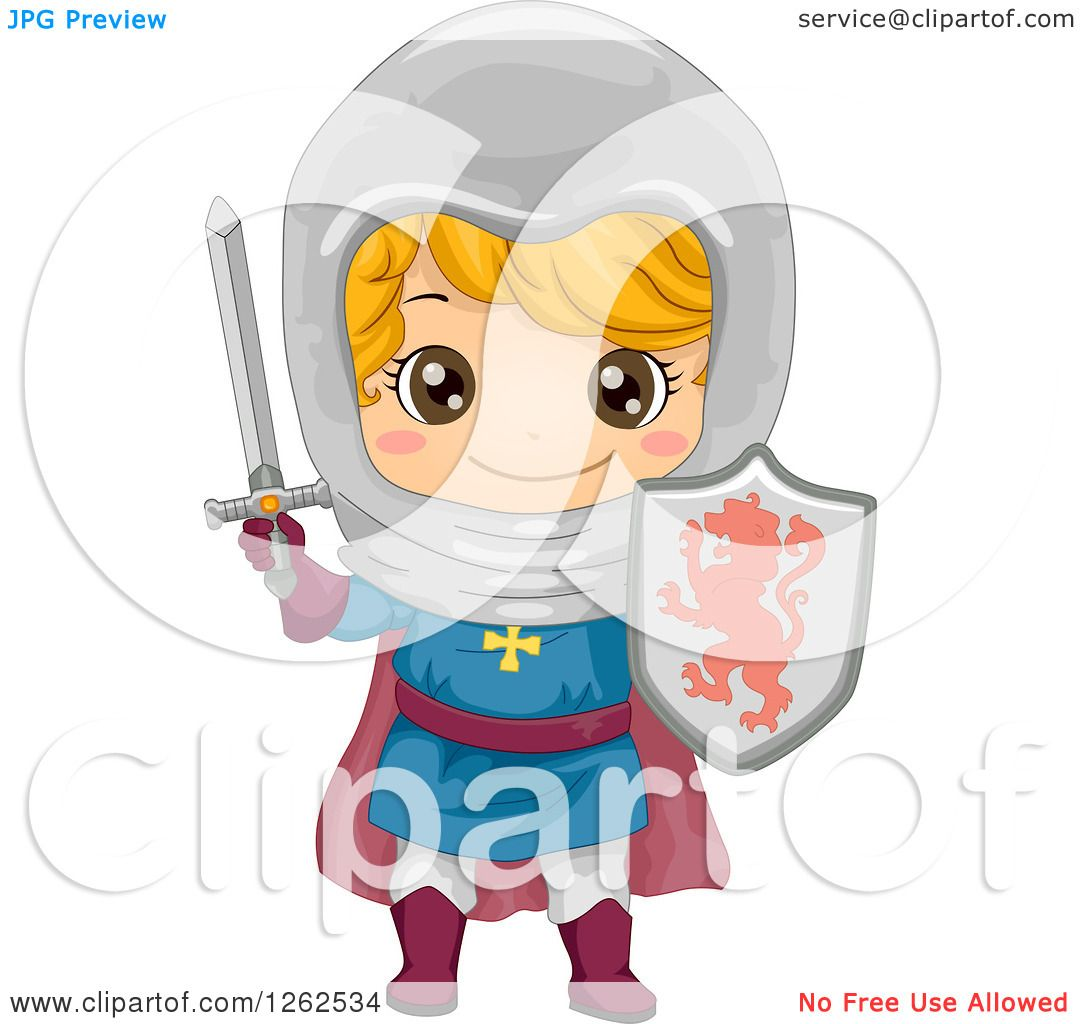 Clipart Of A Cute Boy In A Knight Costume Royalty Free