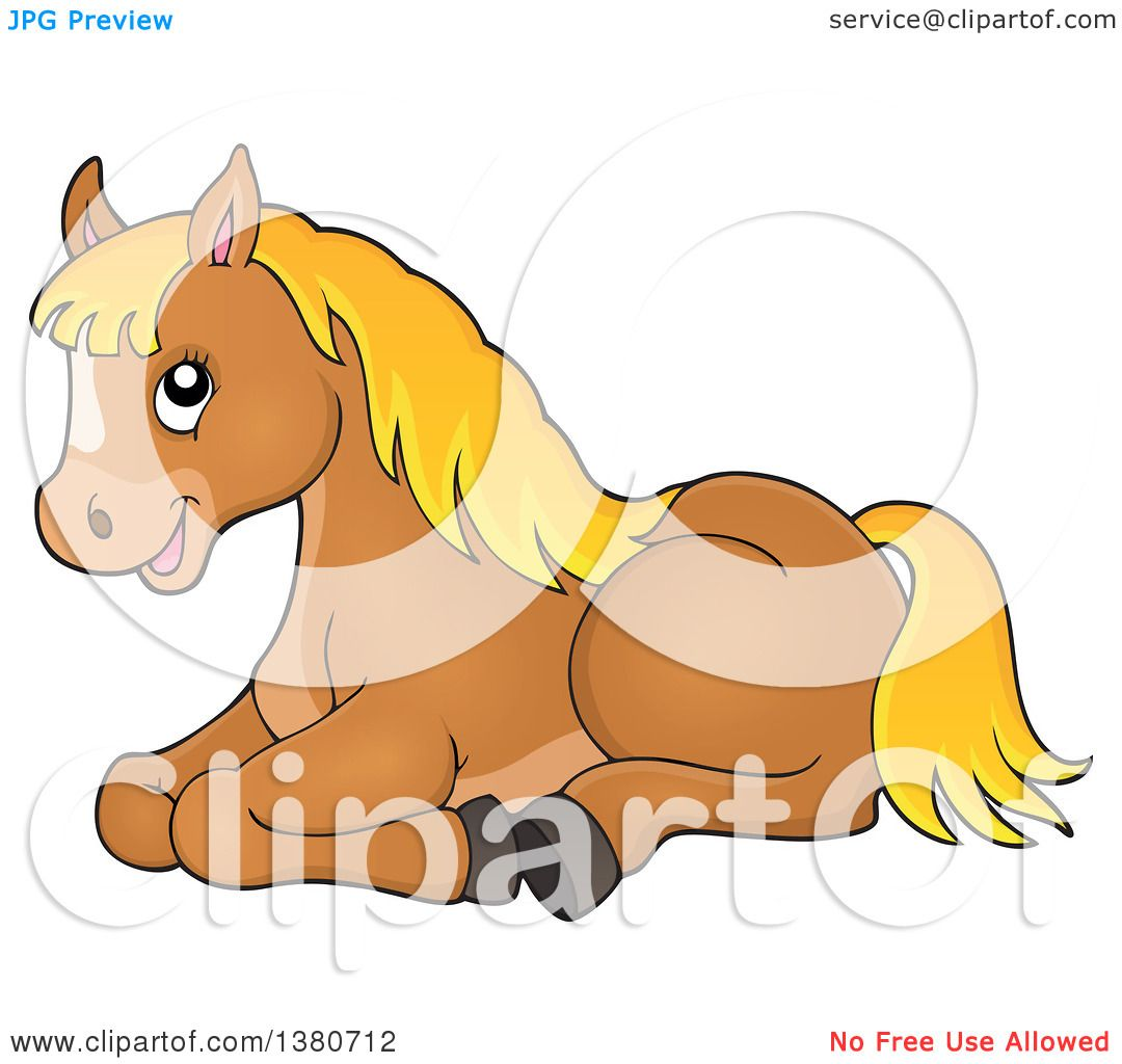 Clipart Of A Cute Brown And Blond Pony Resting Royalty