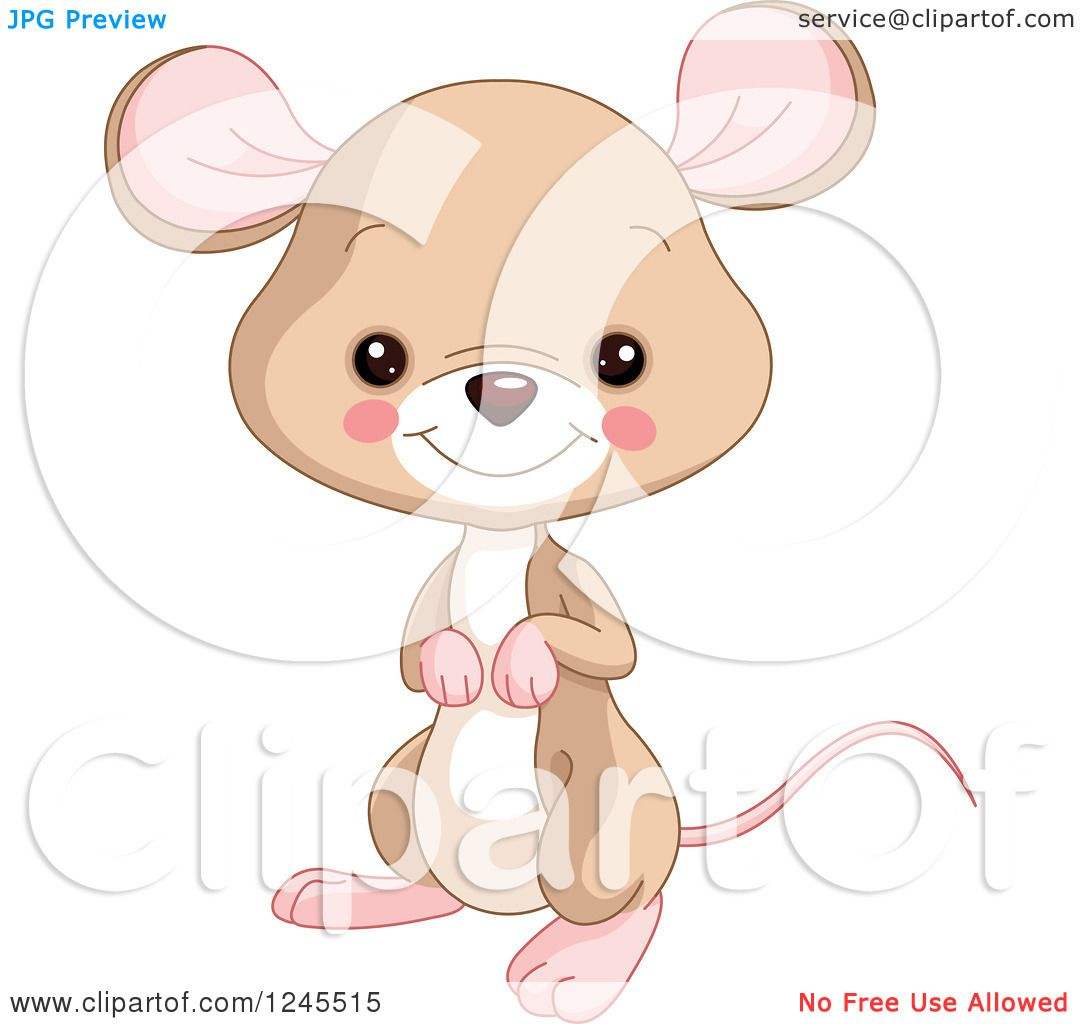 Clipart of a Cute Brown Baby Mouse - Royalty Free Vector ...
