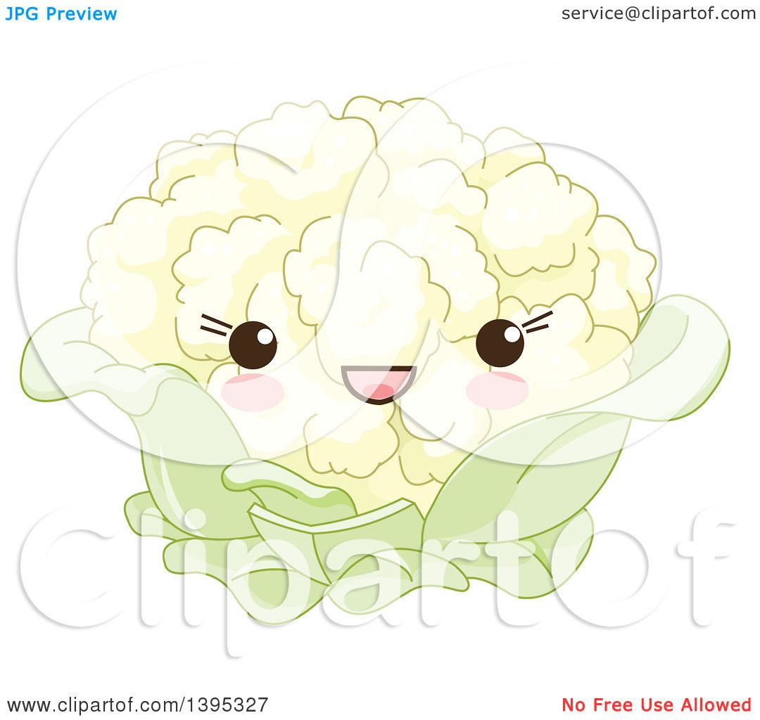 Clipart of a Cute Cauliflower Character with Blushing Cheeks ...