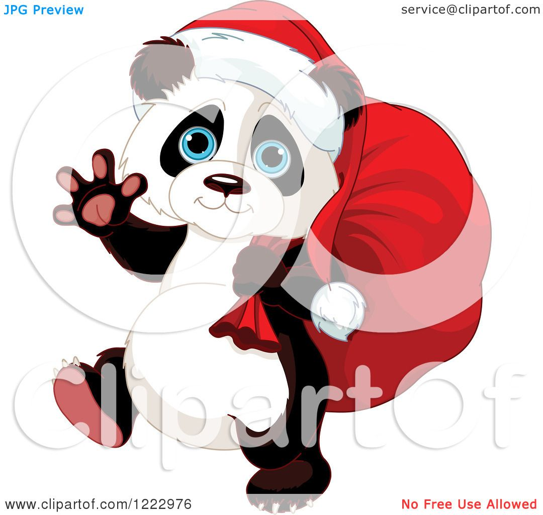 Clipart of a Cute Christmas Panda Carrying Santas Sack and Waving ...