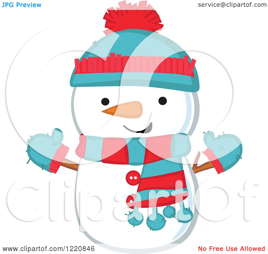 Clipart of a Cute Christmas Snowman Wearing a Hat Mittens and Scarf ...