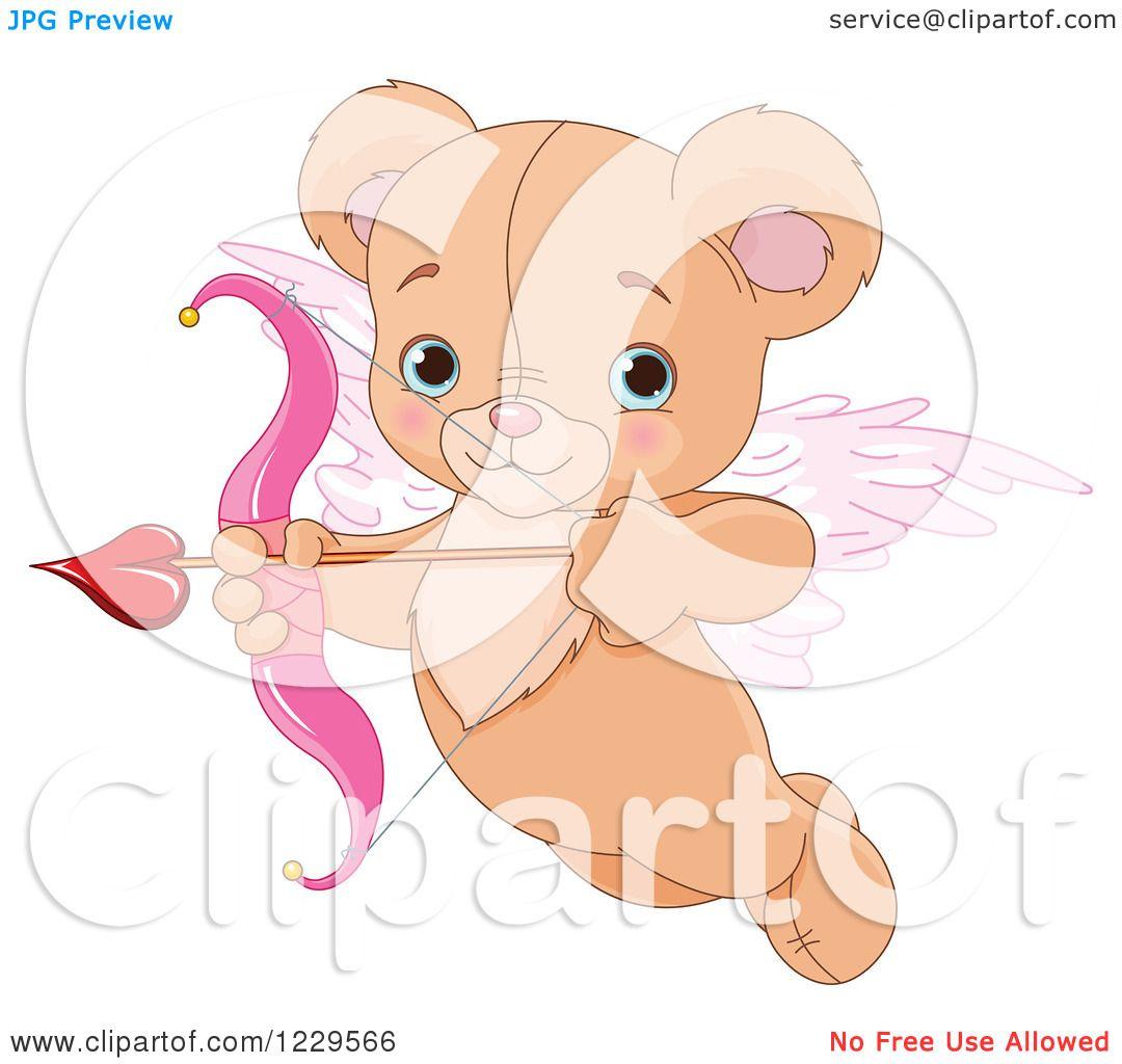 Clipart of a Cute Flying Teddy Bear Cupid Aiming an Arrow ...