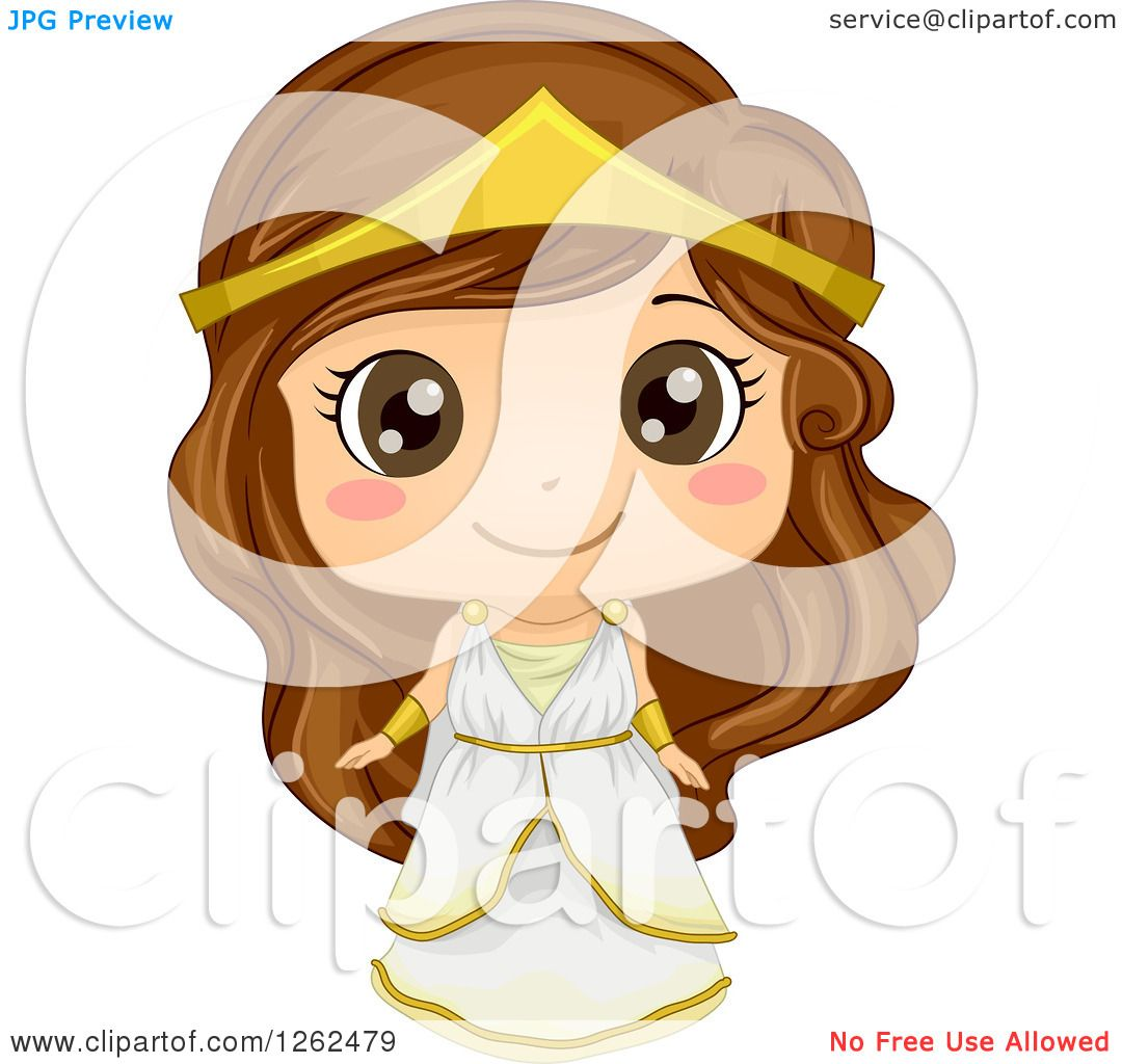 Clipart of a Cute Girl Posing in