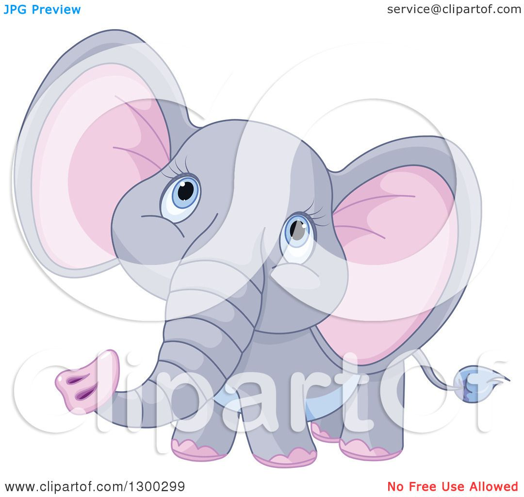 Clipart of a Cute Gray Baby Elephant with Pink Ears ...