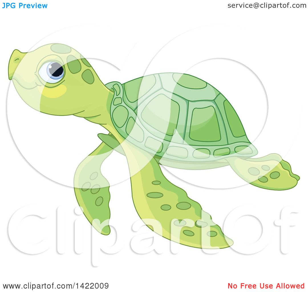 Clipart Of A Cute Green Baby Sea Turtle Swimming Royalty Free