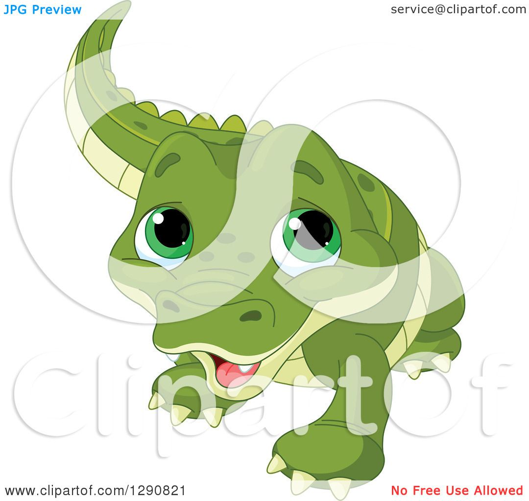 Clipart Of A Cute Green Eyed Baby Alligator Royalty Free