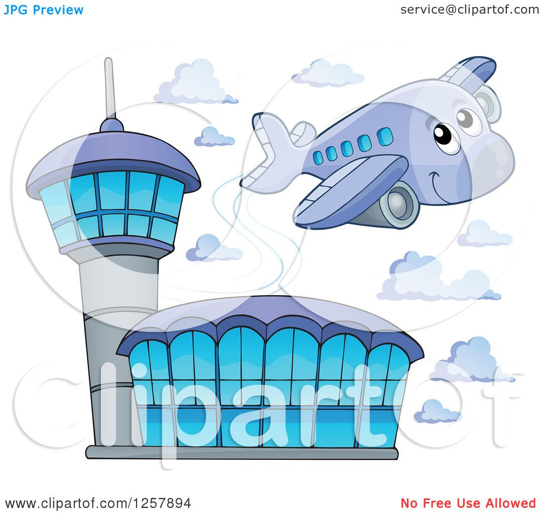 clipart of a cute happy airplane flying over an airport royalty
