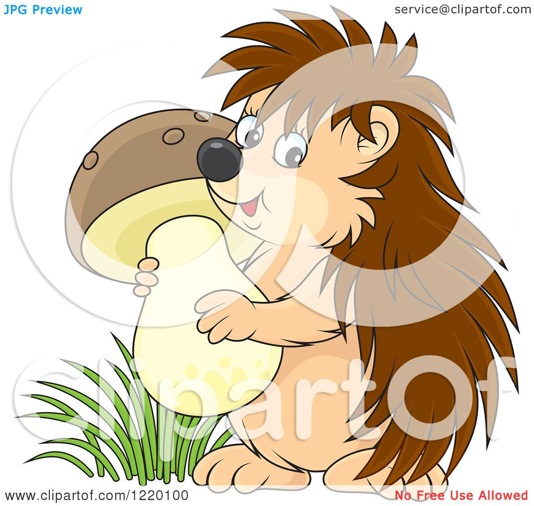 Clipart of a Cute Hedgehog Carrying a Mushroom - Royalty ...