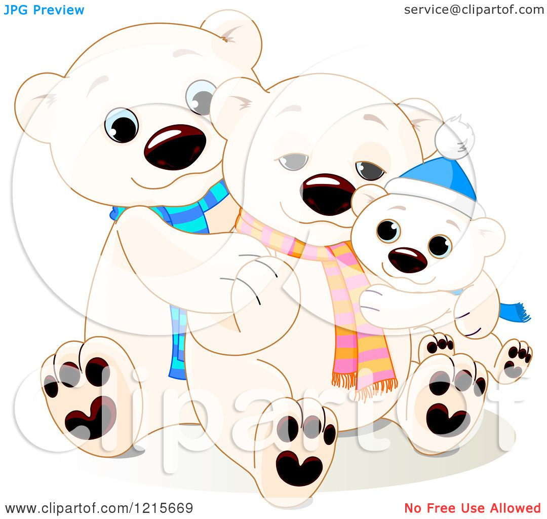Clipart of a Cute Hugging Polar Bear Family Wearing ... Hugging Family Clipart