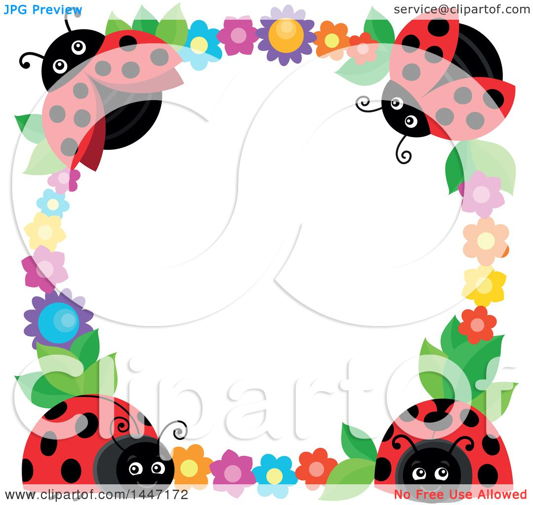 Clipart of a Cute Ladybug and Flower Frame - Royalty Free Vector ...