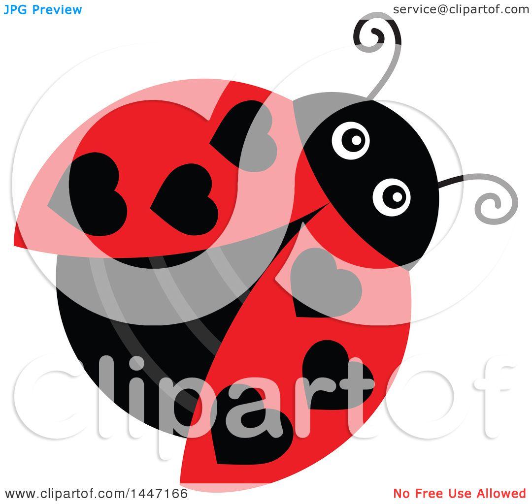 clipart of a cute ladybug with black heart shaped dots royalty rh clipartof com cute ladybug clip art free cute ladybug clipart free