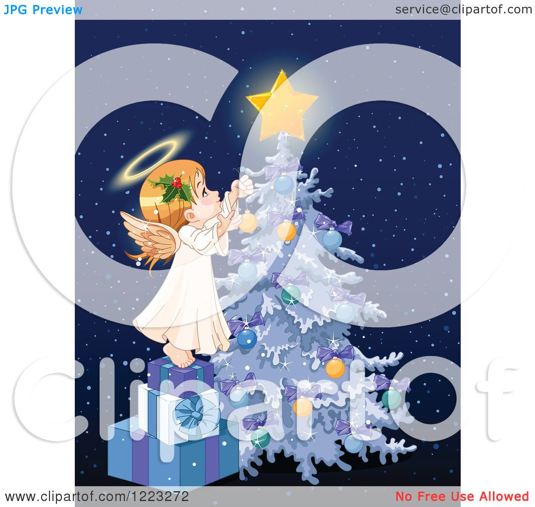 Little Girl Christmas Tree: Clipart Of A Cute Little Angel Girl Stepping On Gifts And