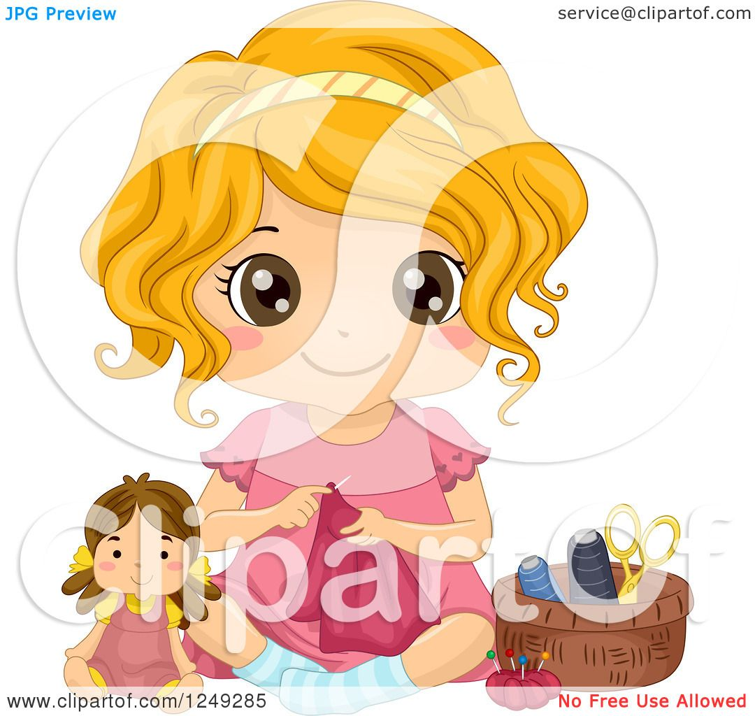 a18f625cc9 Clipart of a Cute Little Girl Sitting on the Floor and Sewing Doll Clothes  - Royalty