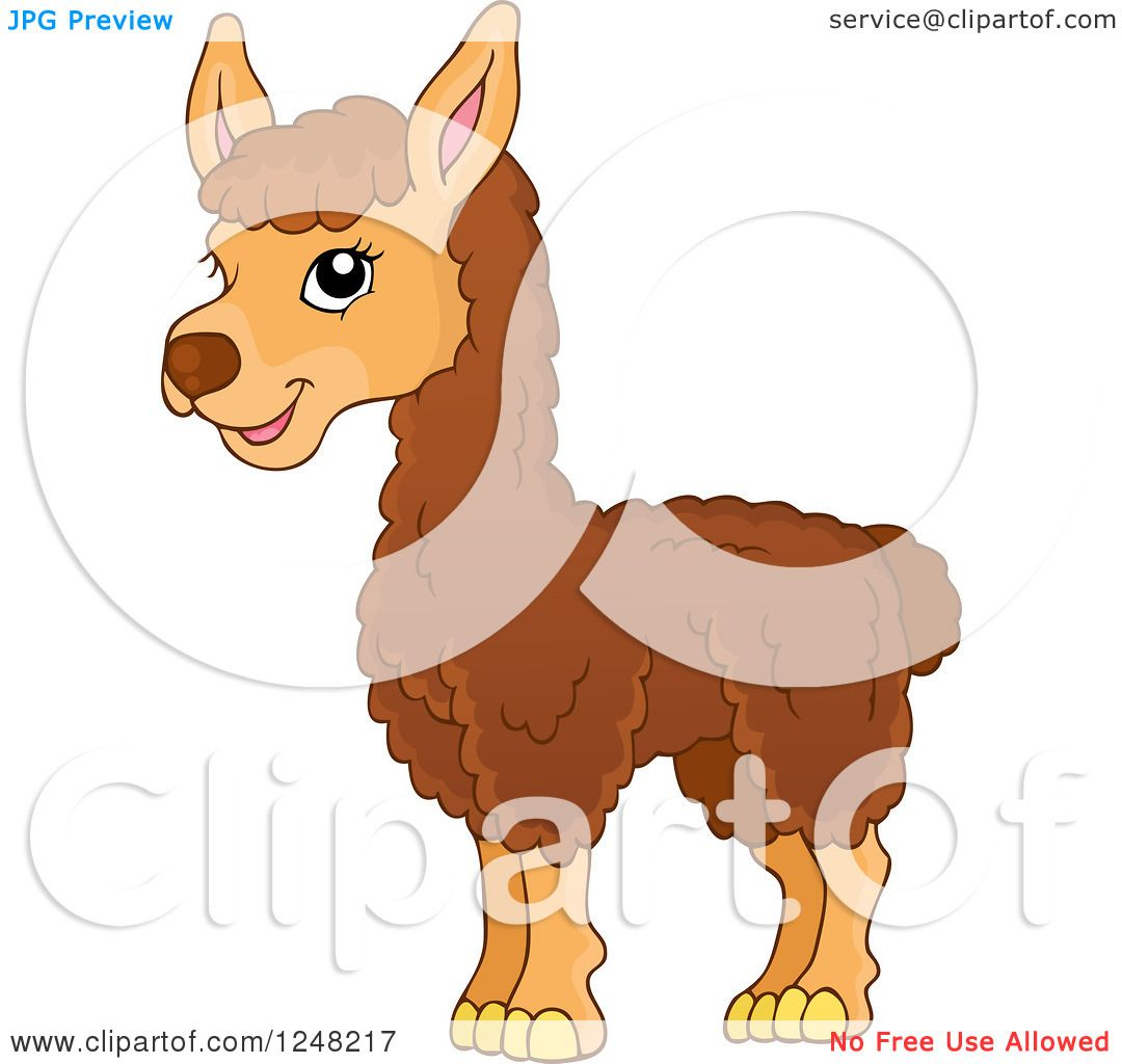 Clipart of a Cute Llama - Royalty Free Vector Illustration by ...