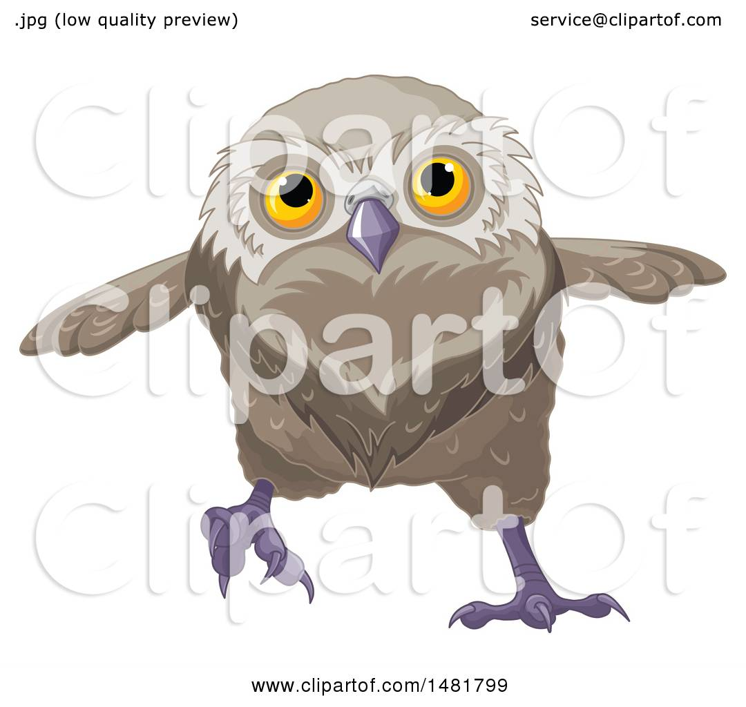 Clipart of a Cute Owl Running - Royalty Free Vector ...