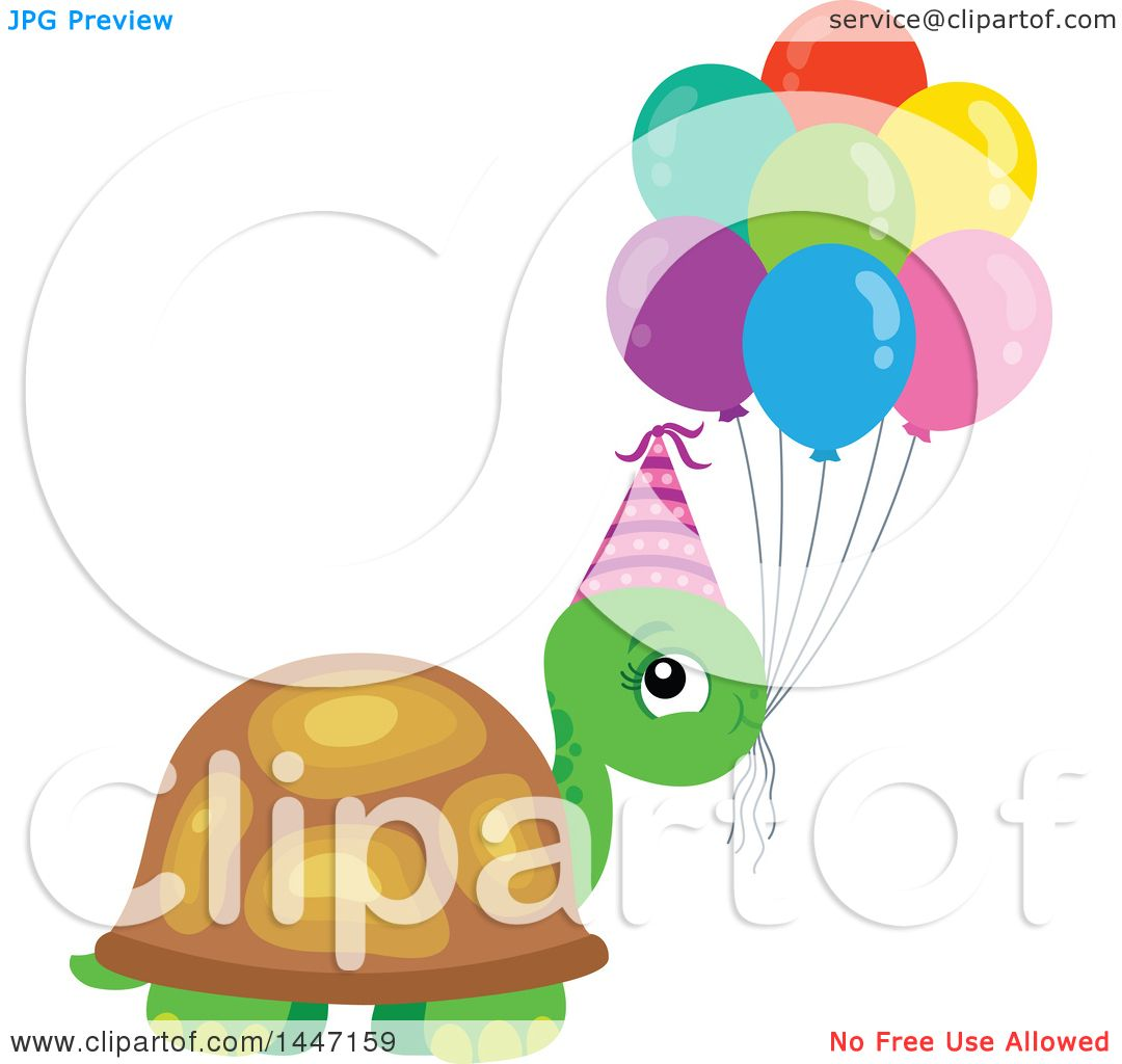 Clipart Of A Cute Party Tortoise Turtle Wearing A Party