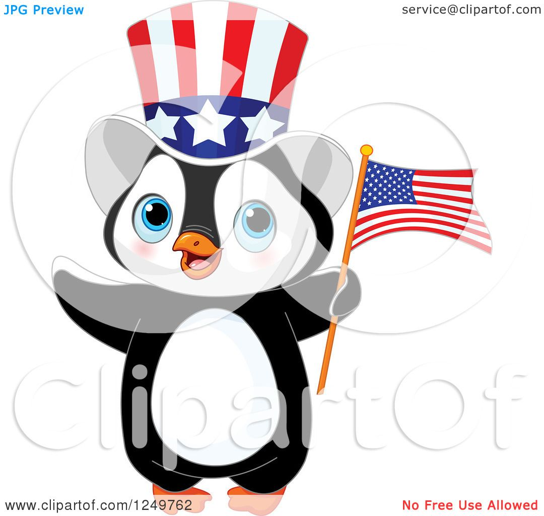 Clipart Of A Cute Patriotic Penguin With An American Flag
