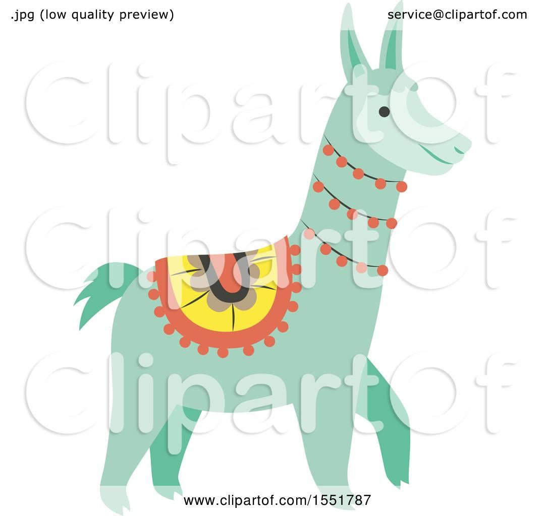Clipart of a Cute Peruvian Llama - Royalty Free Vector ...