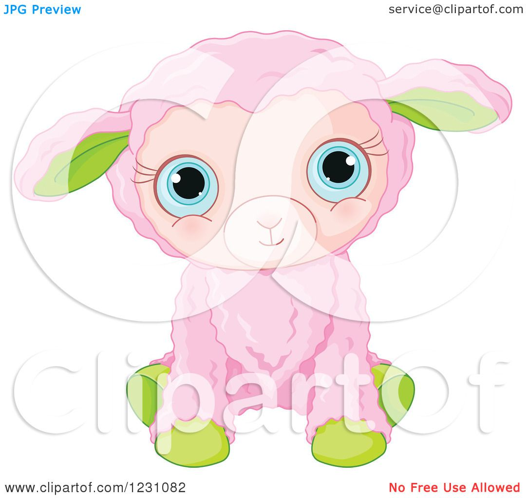 Clipart of a Cute Pink and Green Baby Easter Lamb - Royalty Free ...