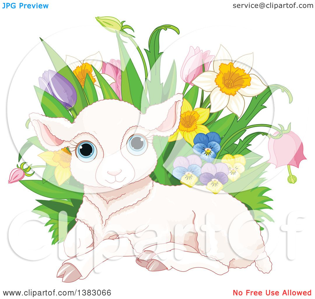 Clipart of a Cute Pink Easter Sheep Lamb Resting by with ...