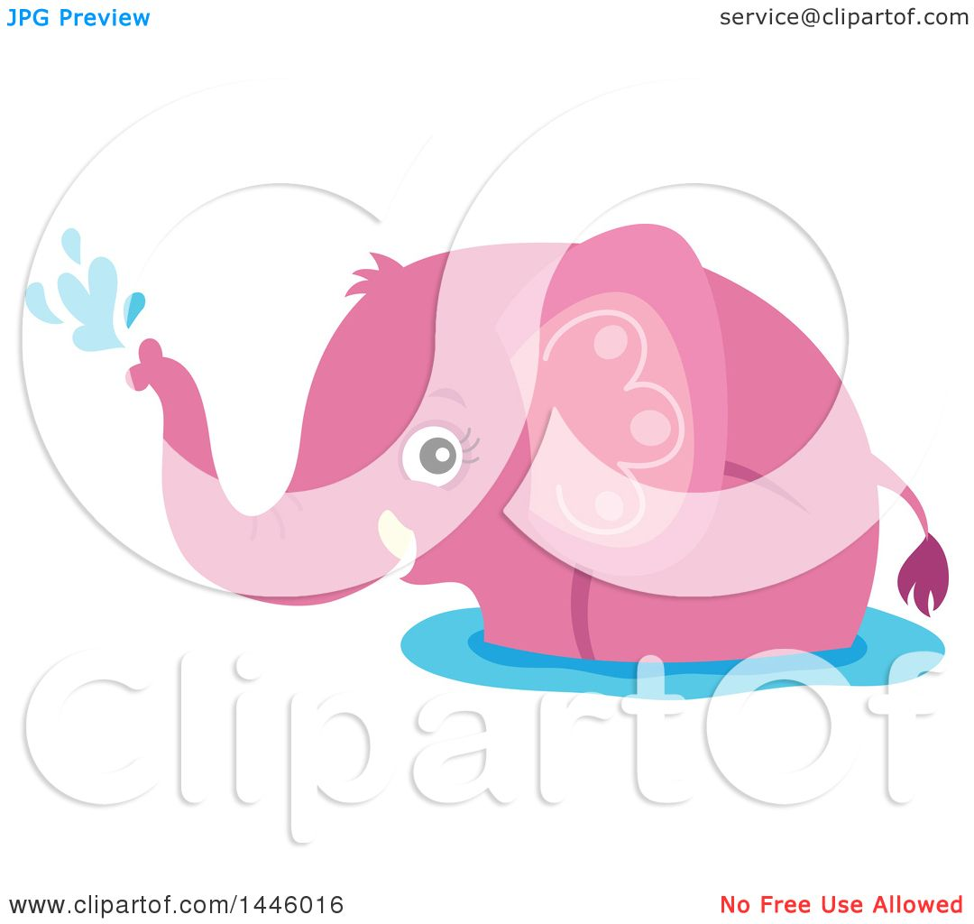 Clipart Of A Cute Pink Girl Elephant Playing In Water
