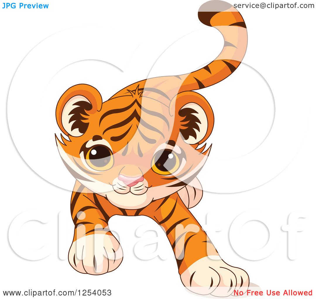 Clipart of a Cute Playful Tiger Cub Stalking - Royalty ...
